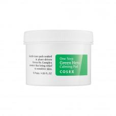 Успокаивающие пилинг - пэды для чувствительной кожи с водой листьев зеленого чая и РНА-кислотой COSRX One Step Green Hero Calming Pad