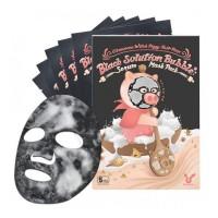 Тканевая пузырьковая маска для лица на основе древесного угля Elizavecca Black Solution Bubble Serum Mask Pack