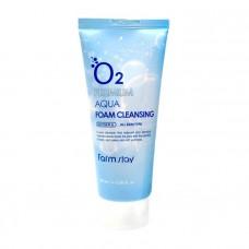Освежающая кислородная пенка для очищения лица FarmStay O2 Premium Aqua Foam Cleansing