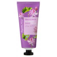 Увлажняющий крем для рук с экстрактом лепестков лотоса FarmStay Pink Lotus Flower Blooming Hand Cream